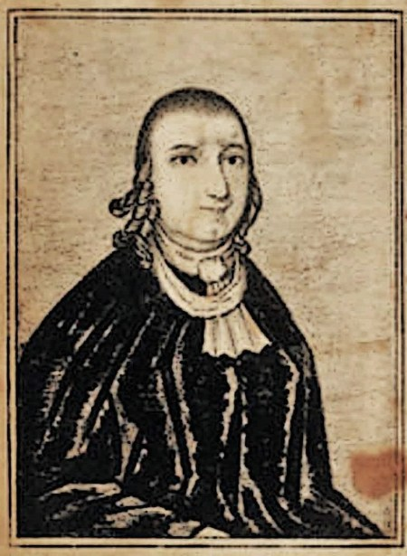 Engraving of Publick Universal Friend. Friend wears a black robe, white scarf, and has long ringlets around the ears and cut short on top.
