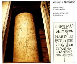 Matildas tomb in Quedlinburg - a large inscribed stone sarcophagus