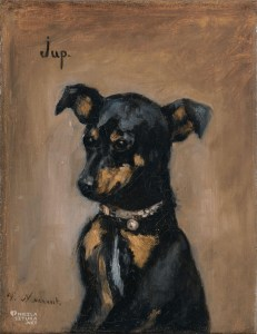 Portrait of a black dog with pointed, folded-over ears by Victorine Meurent