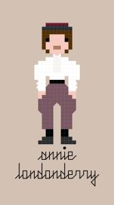 Pixel-style cross-stitch pattern of Annie Londonderry