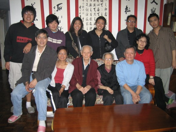 Grandpa Wang is in the front middle.
