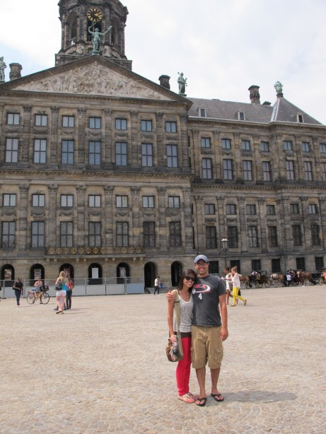 In front of the...a cool building in Amsterdam.
