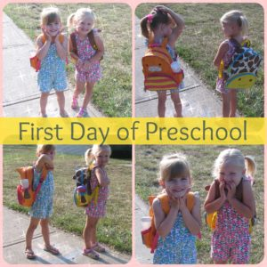 Twins on first day of preschool