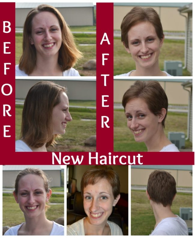 before and after short hair cut