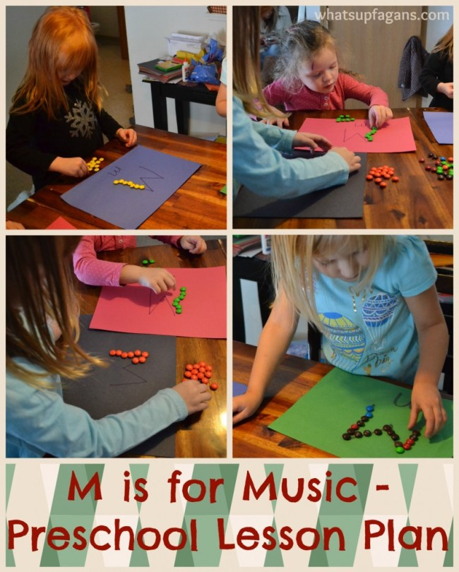 M is for Music Preschool Lesson - Use M&Ms to match colors and make Ms.