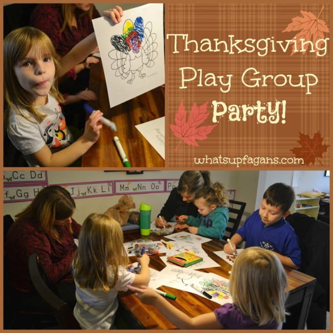 Thanksgiving Play Group Party! Coloring pages, food, games, songs, and more ideas for a Fall play date! whatsupfagans.com