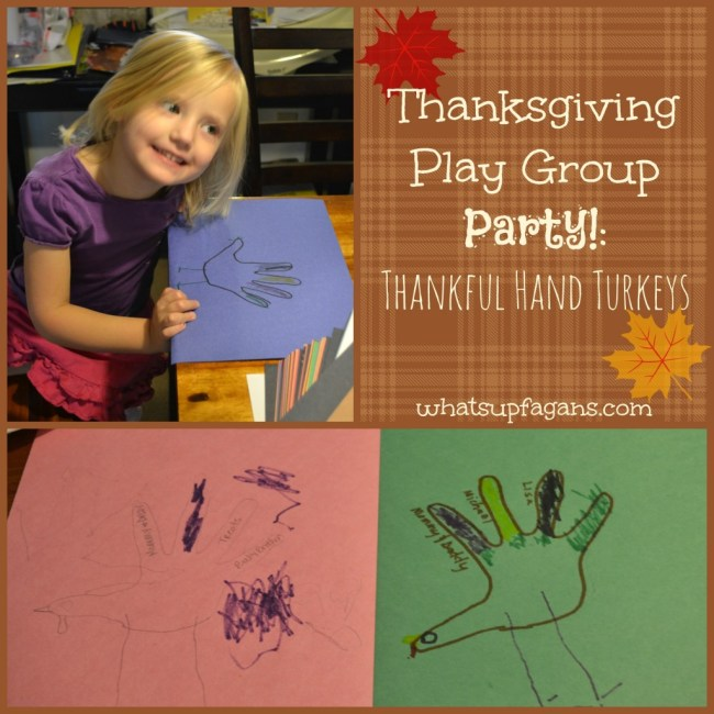 Thanksgiving Play Group Party Ideas - Thankful hand turkeys, games, songs, and more!