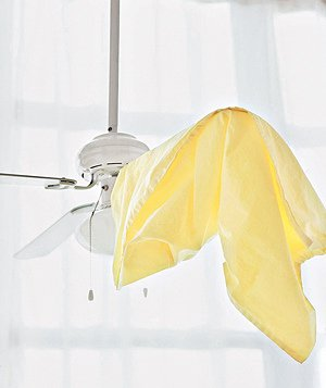 Clean ceiling fan with pillow case