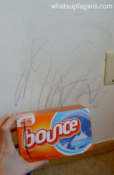 Clean crayons off walls with dryer sheets