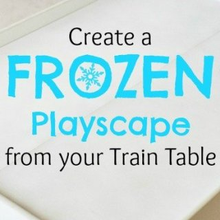 DIY upcycle of a train table to a Disney Frozen playscape playset! Perfect for my daughters!