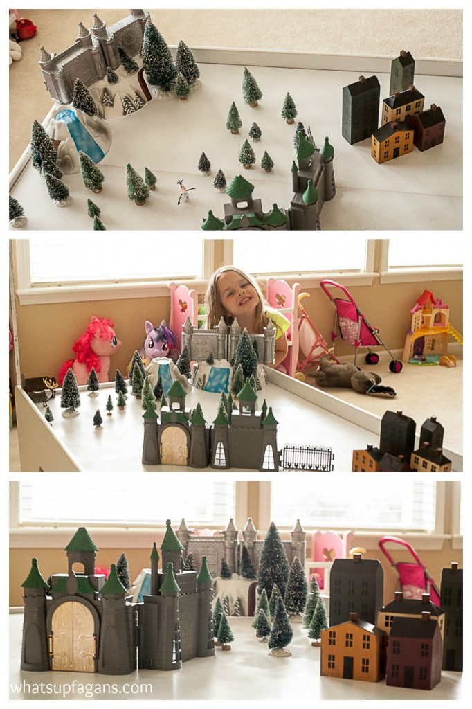 Upcycle your old train table into a fun Disney Frozen Playscape playset.