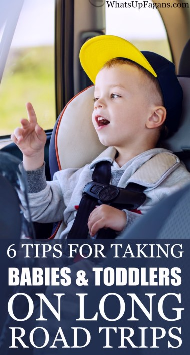 Great parenting tips for people traveling with young kids! These 6 simple tips work on long road trips with toddlers and babies on board! And they're so simple.