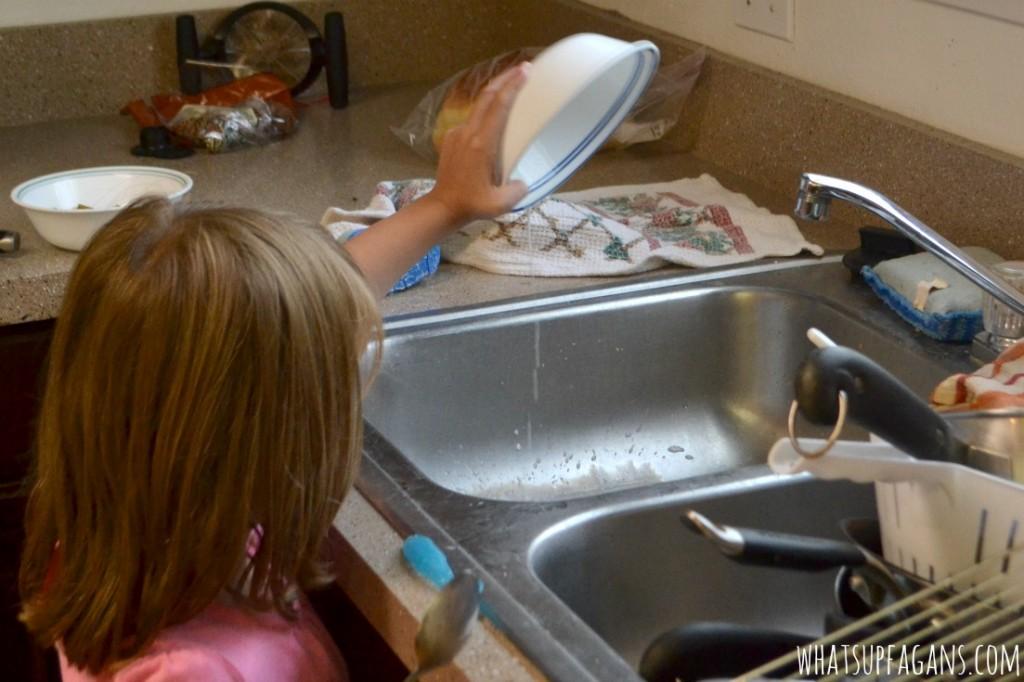 Dump bowl into sink