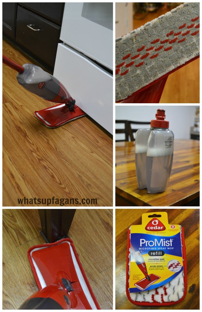 O-Cedar ProMist Spray Mop in Action - The Microfiber pad does an awesome job! #CleanfortheHolidays #cbias #ad
