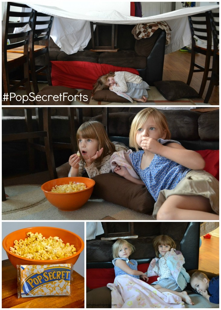 Spend some time with your kids and help them create a fort in your living room! And then enjoy a movie and a snack! #PopSecretForts #sp