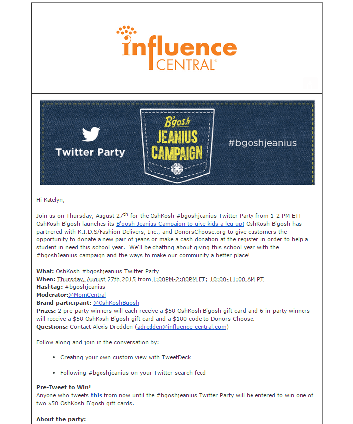 Influence Central Twitter Party Oshkosh B'Gosh email