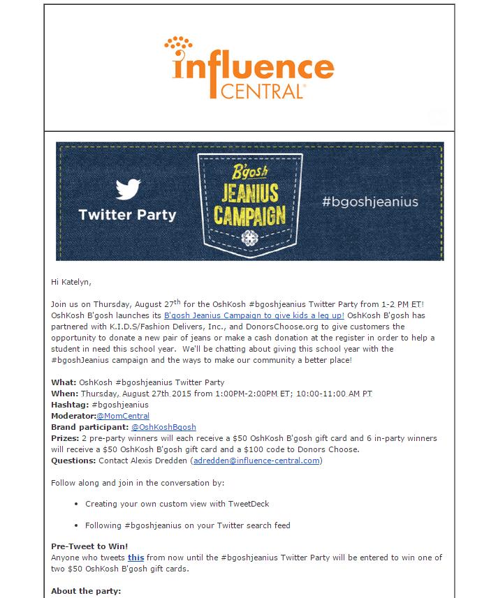 Influence Central Twitter Party Oshkosh B'Gosh email