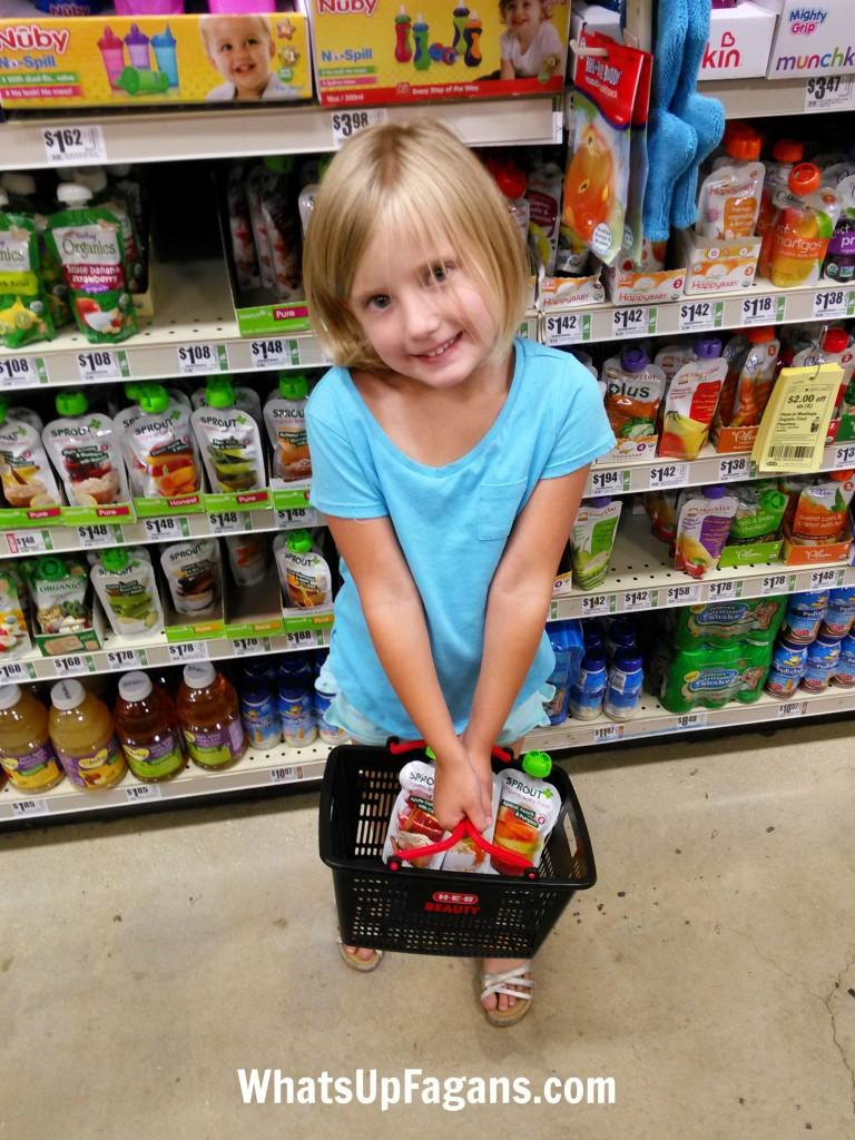 The secret to grocery shopping with kids? Mini baskets. And lots of practice.
