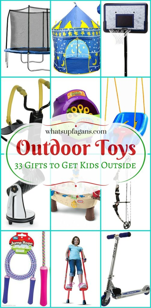 Awesome list of 33 outdoor play equipment and outdoor toys for kids. Great gift guide and ideas to get my kids outdoors.