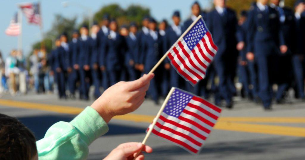 Veteran's day heroes flags