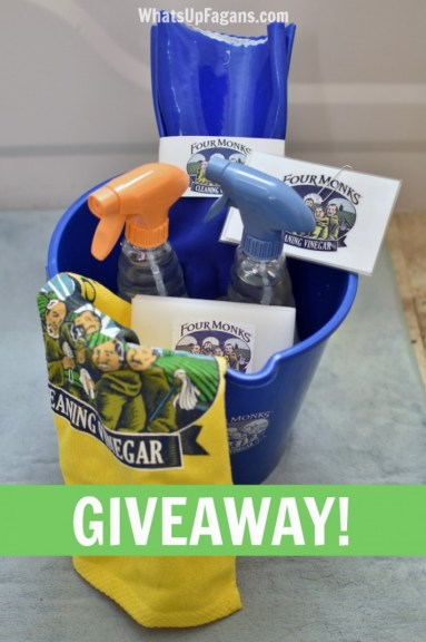 Enter to win this Four Monks Cleaning Vinegar Prize pack of cleaning supplies.