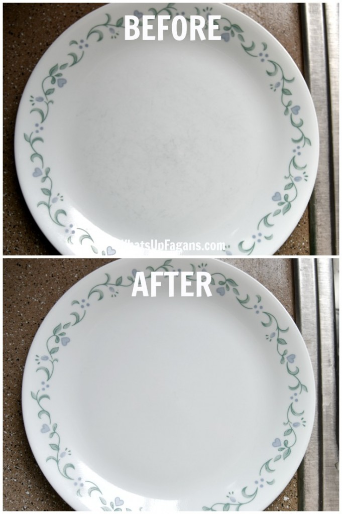 DIY cleaning tutorial on how to remove scratches from dinnerware plates and bowls. Super easy too!