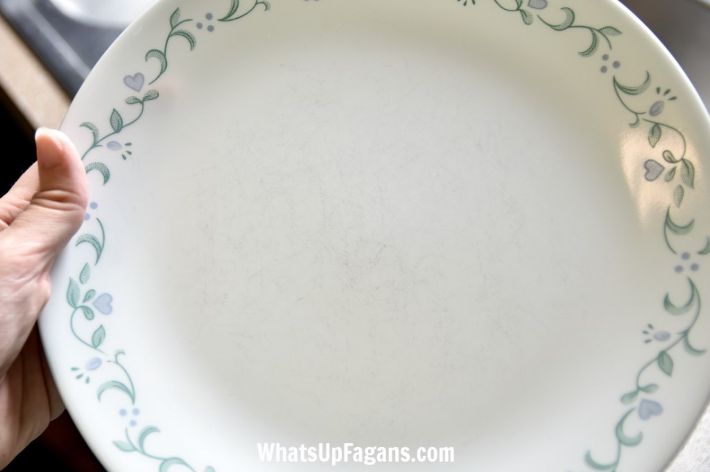 DIY tutorial on how to remove scratches from plates and bowls