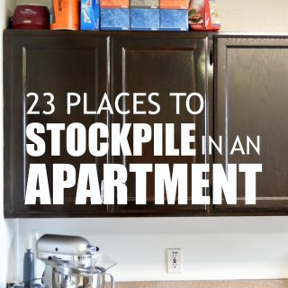 Great storage ideas for creating a stockpile in a small apartment home without a lot of storage space. Plus some good tips on saving money in the process!
