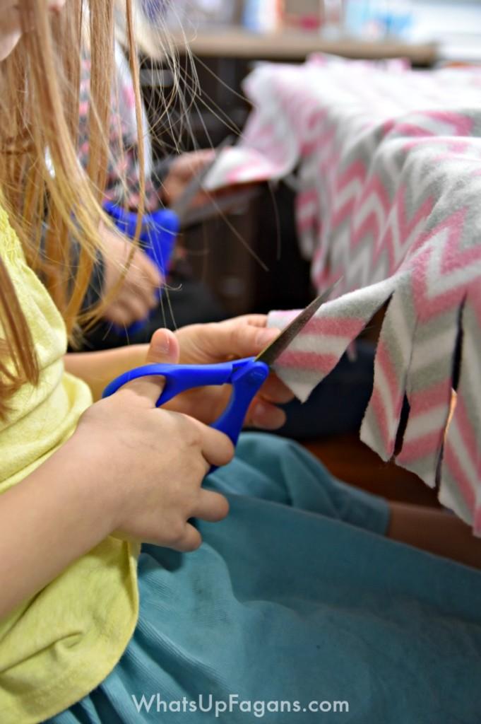 Cutting Fleece Blanket Project Linus