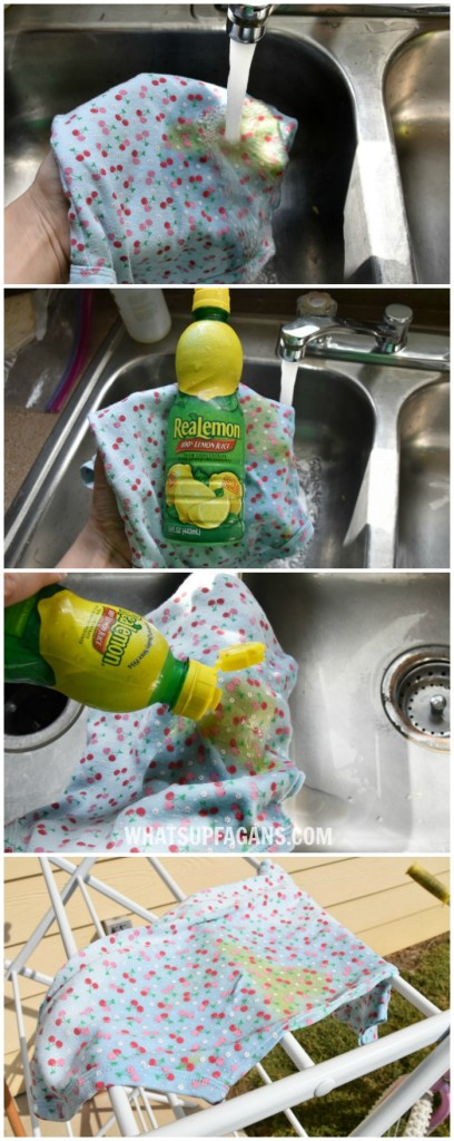 DIY green free laundry stain removal method for baby poop stains - use the sun and a little lemon juice (if needed). The results are impressive!