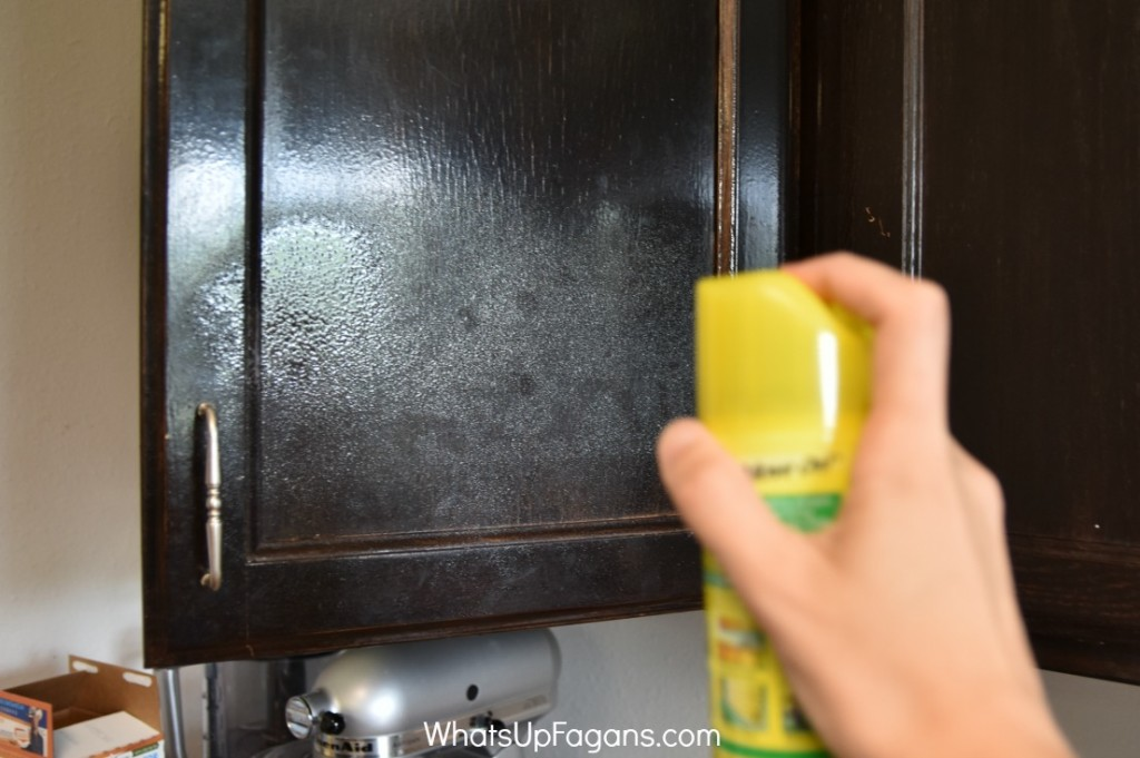 Great way to shine up kitchen cabinets!! Such an easy cleaning tip!