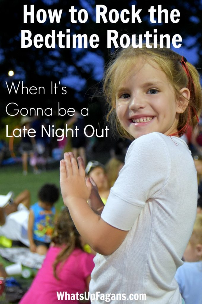 Summertime bedtime routines get out of whack when you're keeping the kids up late! Great tips for managing bed time with different ages of kids - babies, toddlers, and gradeschoolers.