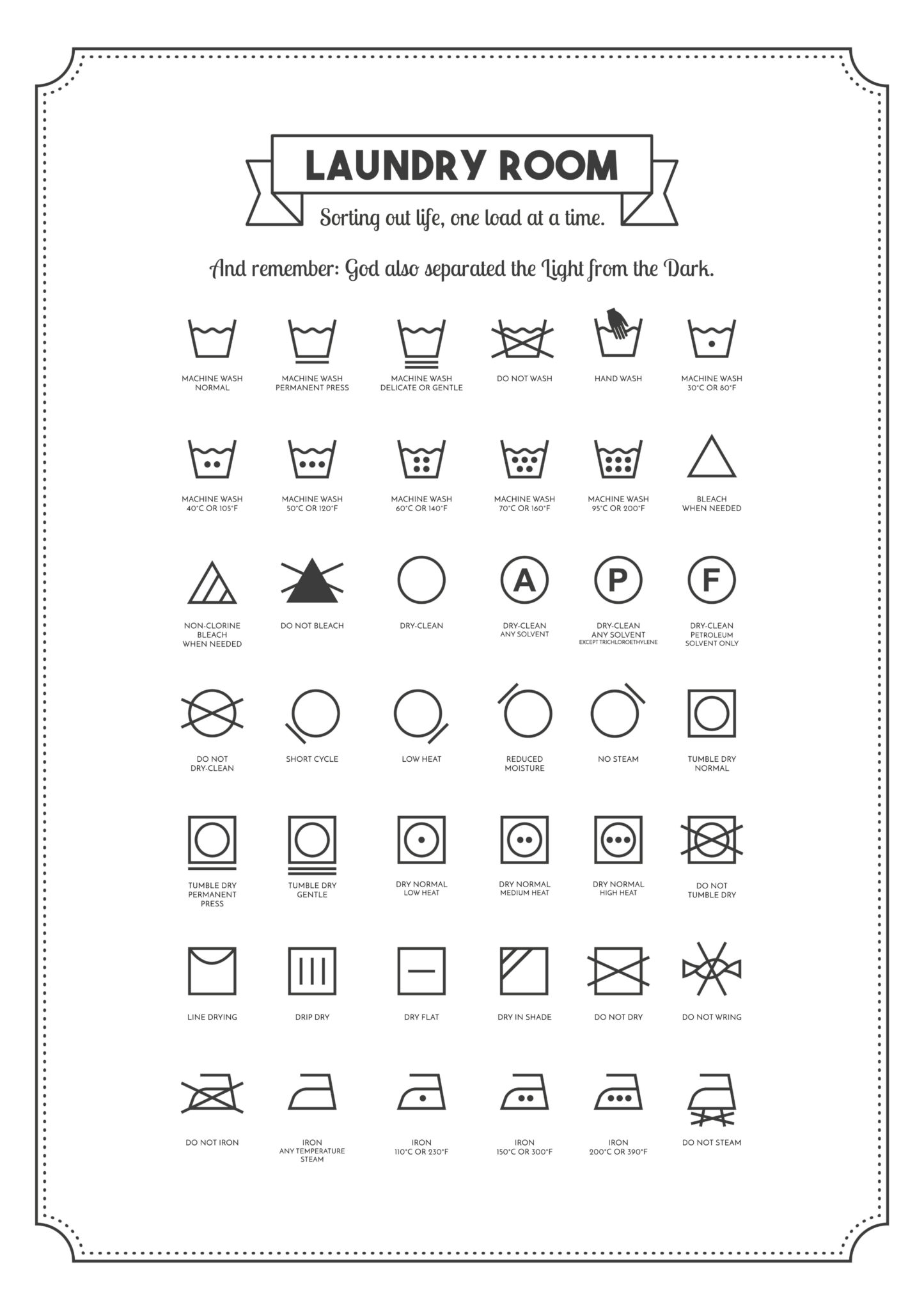 graphic relating to Laundry Symbols Printable known as Laundry Area Printables Whats up Fagans?