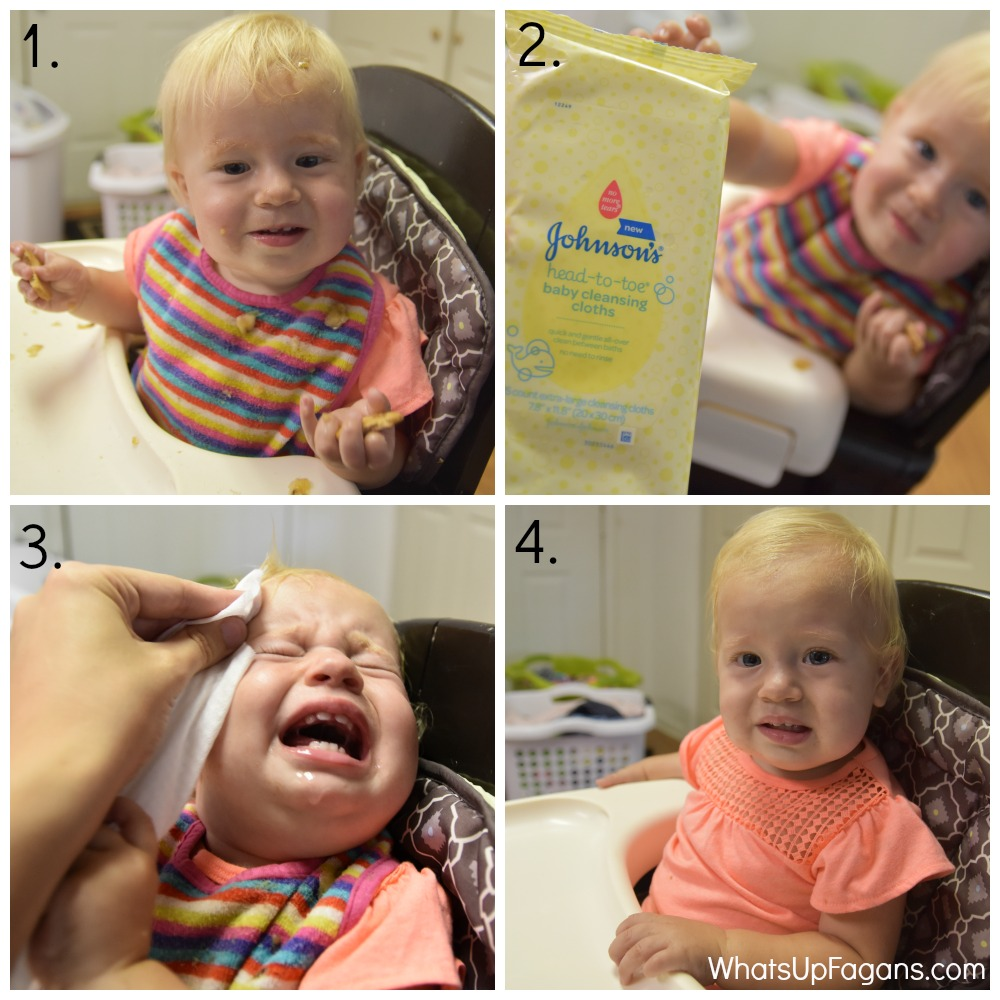 big family realities - messy mealtime and no time to clean up Johnsons bath cleansing cloths