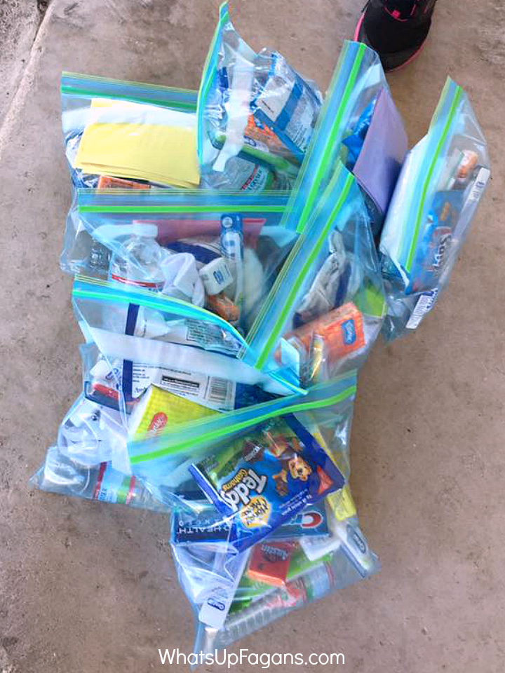 Homeless Blessing Bag Assembly Party - How to make blessing bags for homeless people - group service project - service ideas for families - homeschool service