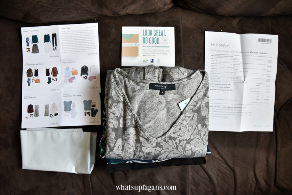 how does stitch Fix work - a look inside what comes in a Stitch fix - a stack of Stitch Fix brands and Stitch Fix style guide and checkout card and return envelope.