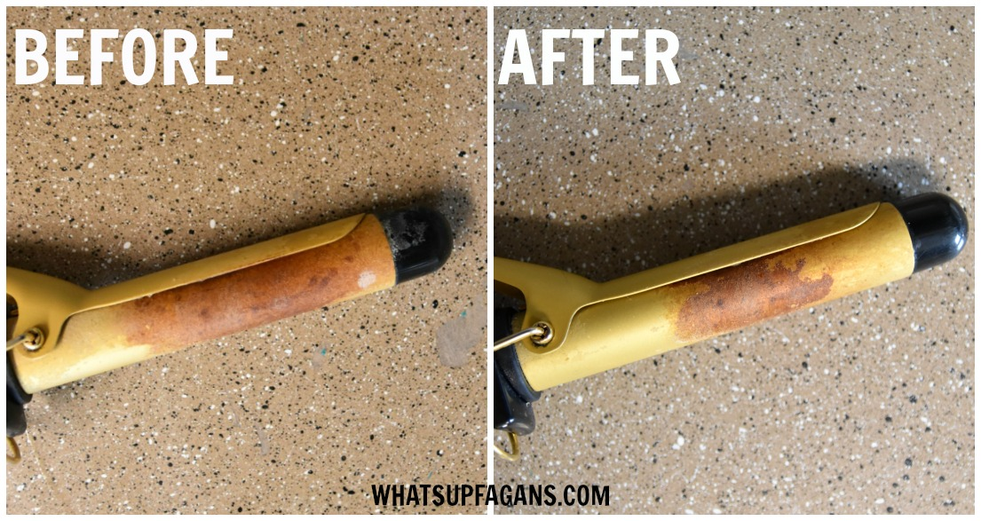 how to clean a curling iron with ammonia before and after pic