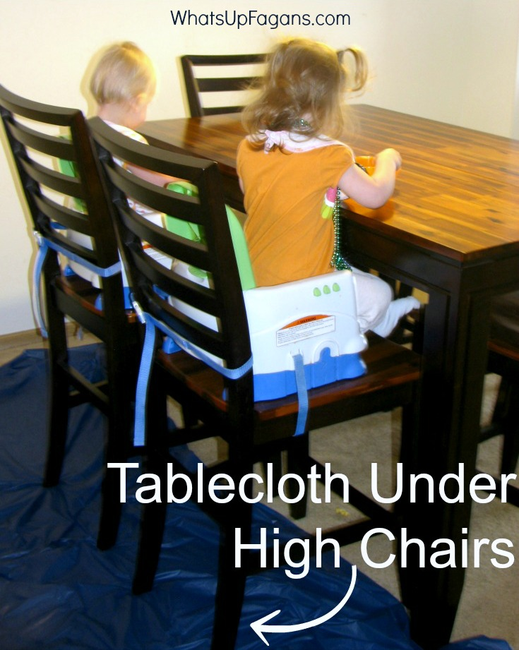 messy toddler meal time - feeding essentials - clean up - tablecloth under high chairs