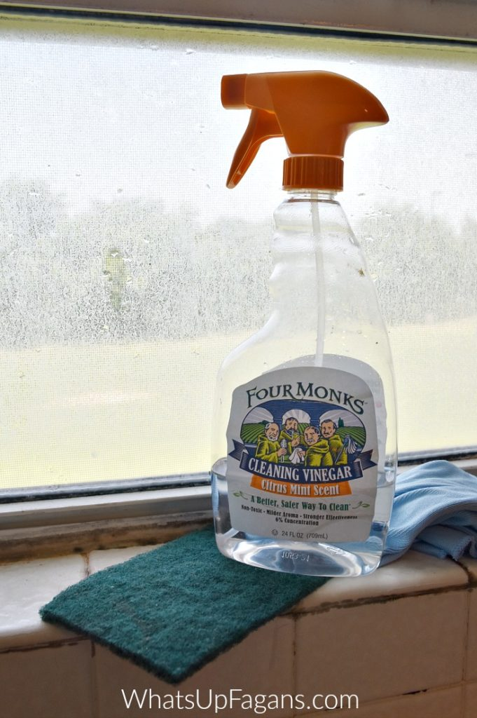 materials needed to remove hard water stains from window