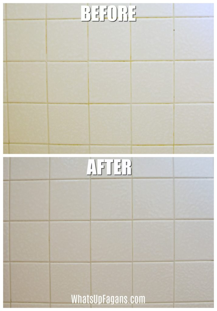 clean grout with baking soda and vinegar - before and after