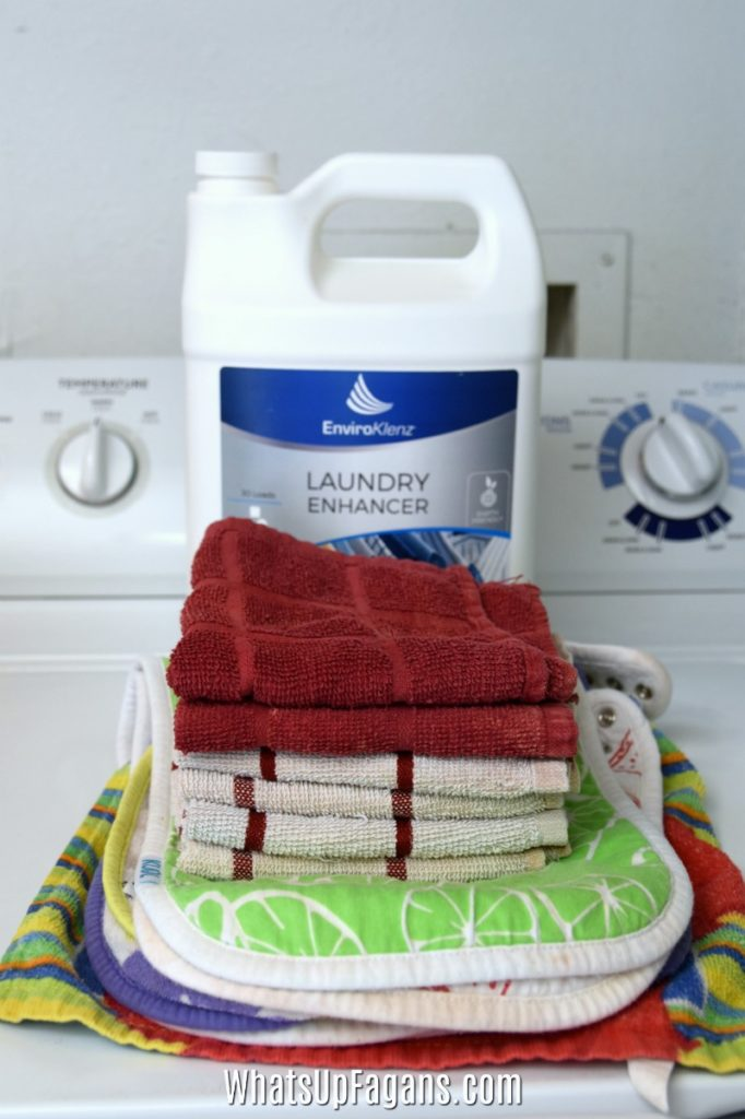 remove smells from kitchen dish cloths and bibs with enviroklenz laundry enhancer