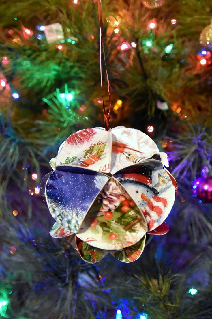 Geometric Christmas card ornament