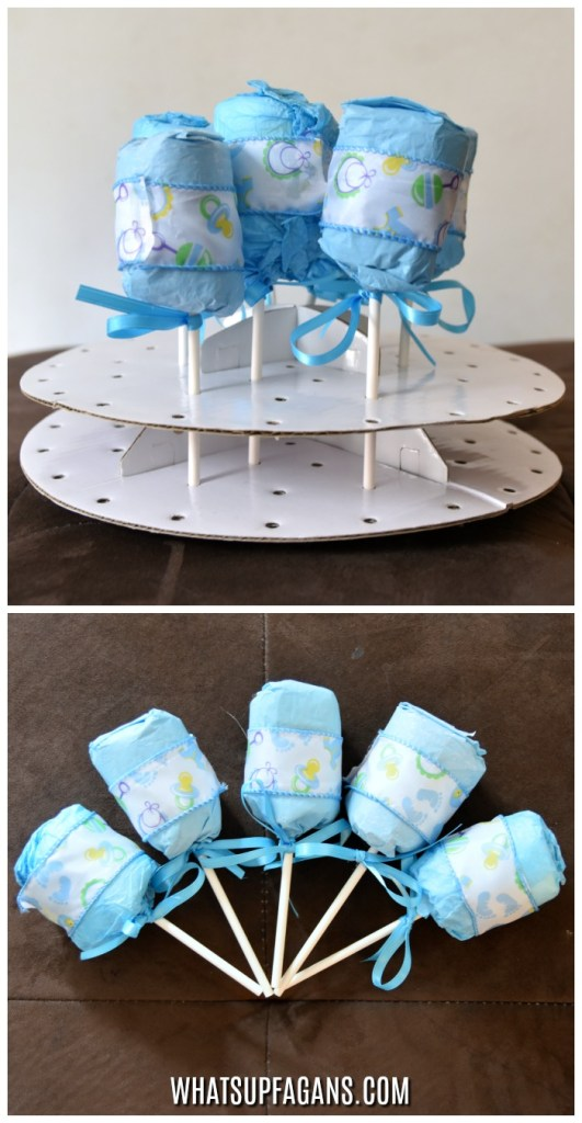 Baby Shower Party Favor Idea - Diaper Surprise - DIY Baby Rattle made with a diaper - Diaper Themed Diaper Shower Idea