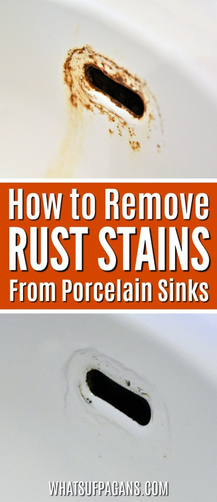 How to remove rust stains on porcelain sinks | Rust Stain Removal | Bathroom sink cleaning tip tutorial