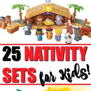 Gift a kid nativity set! Awesome list of 25 child's nativity sets. Includes miniature nativity set, Peanuts Nativity Set, Fisher Price Little People Nativity Set, Wooden Nativity Sets, plush nativity set, and more! Bring the Christmas nativity scene to life with a LEGO nativity kit!