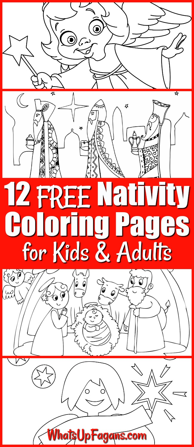 Nativity coloring pages for kids - nativity coloring sheets - nativity coloring pages printable - printable nativity scene - nativity scene coloring pages | #Christmas #Nativity #Jesus #JesusChrist #Manger #Holidays #ColoringPages #FreePrintables #Printable #Printables #Angels