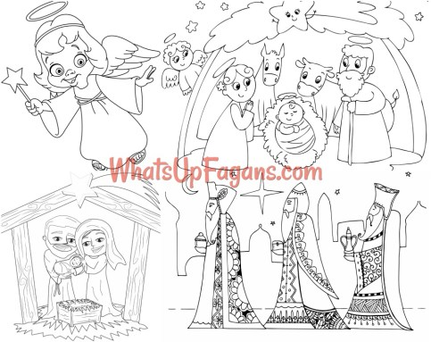 Nativity coloring pages for kids - nativity coloring sheets - nativity coloring pages printable - printable nativity scene - nativity scene coloring pages