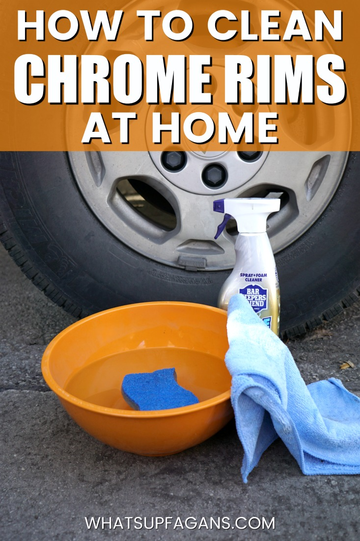Want to learn how to clean chrome rims? This is possibly the best way to clean tire rims because you can do it at home and it will even clean up chrome rims with rust! #cars #auto #barkeepersfriend #BFKBeforeAndAfter #BKF #BKFSpray #cleaningtip #cleaning #springclean #carwash
