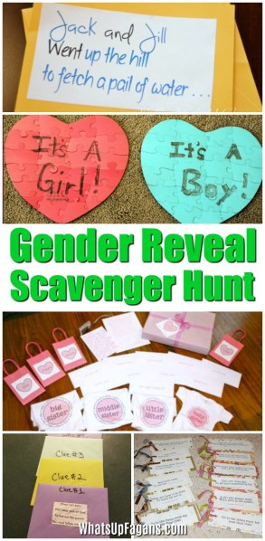 gender reveal scavenger hunt games for gender reveal party