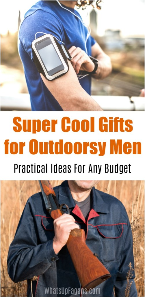 collage image of outdoorsy men with guns and running equipment